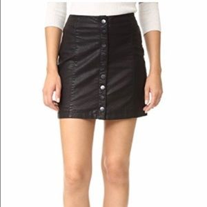 Free People Faux Black Leather  Button Down Skirt